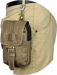 Men Casual Design Small Waist Bag Pouch Cowhide Hook Waist Belt Pack Cigarette Case Phone Pouch,Grey 1
