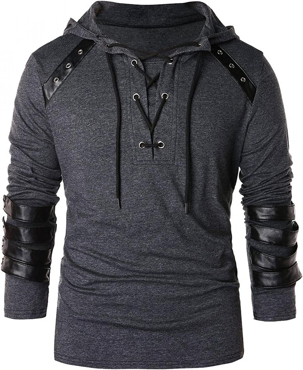 Qsctys Mens Hoodies Pullover Slim Patchwork Leather Long Sleeve Sweatshirts Hooded with Pocket Fashion Hoodies