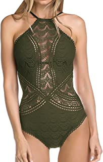 Becca by Rebecca Virtue Womens Color Play High Neck One-Piece Bay Leaf XL