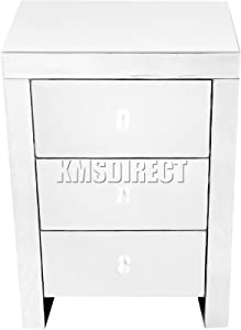 WestWood Mirrored Furniture Glass 3 Drawer Bedside Cabinet Table Bedroom MBC01 Silver