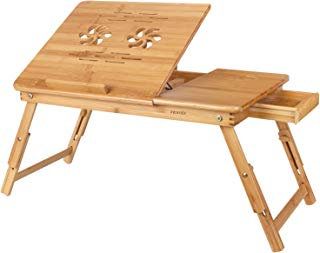 Homfa Bamboo Laptop Desk Adjustable Portable Breakfast Serving Bed Tray with Tilting Top Drawer