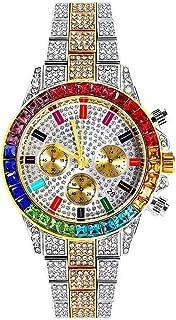 LuBHnna Orologio al Quarzo ghiacciato Bling da Uomo Orologio da Polso cronografo con Calendario simulato con Diamanti Colo...