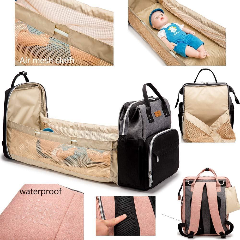 Bébé Berceau portable, Sac à langer Lit bébé pliable avec fonction USB Port de charge comme un sac à langer et table à langer facile à plier JIAJIAFUDR (Color : Blue) Blue