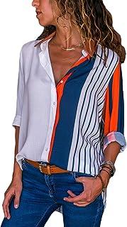Camisas Mujer Blusa con Botones Camisetas Manga Larga Sexy Tops Color Rayas Cuello en V Low Cut Sexy Camisetas y Tops Cami...