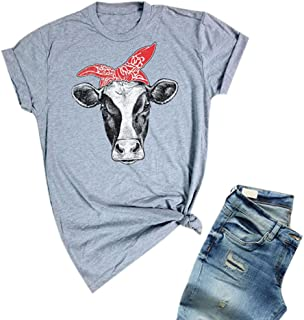 Womens Cow Shirts Summer Short Sleeve Funny Cute T-Shirts Casual Loose Tee Tops