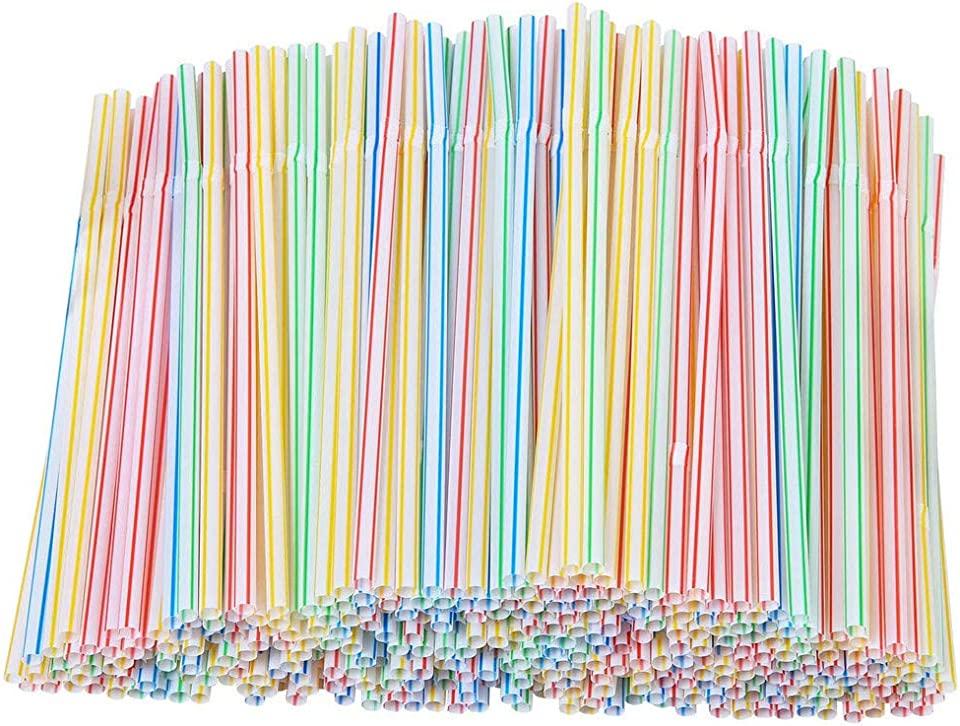 200 Pieces Plastic Drinking Straws 8 Inches Long Multi-Colored Striped Retractable pp Color Strip Bendable for Wedding Supplies and Party Favors 5mm