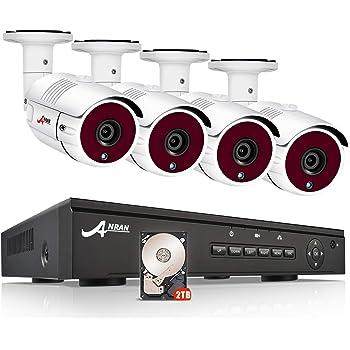 ANRAN 防犯カメラ 屋外 poe防犯カメラ 4台 1920P 8CHレコーダー(8台まで増設) 防犯カメラセットH.264+ 500万画素 暗視機能 動態検知 IP66防水防塵 遠隔監視(PC・スマホ対応)監視カメラ 2TB 良いアフターサービス一年保証 (500万画素カメラ4台+8チャンネルレコーダ+2TB内蔵)
