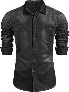 Men's Denim Shirt Long Sleeve Regular Fit Casual Button Down Shirt Western Cowboy Work Shirts with Pockets