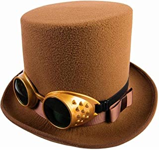 Steampunk Hat w/Goggles-Brown