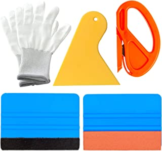 GUGUGI Vinyl Wrap Application Tool Kit Window Film Tint Kit Decal Applicator with Vinyl Knife, Scraper, Felt Edge Squeegee, Knit Work Gloves for Vinyl Wrap, Decals Sticker Installation, Wall Paint
