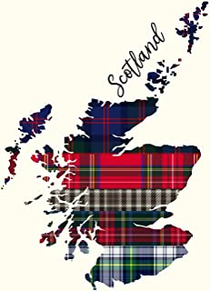 Scotland: Tartan Plaid Scotland Map 100 Page Blank Lined Notebook 8.5x11