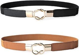 2 Pack Women Retro Elastic Stretchy Metal Buckle Skinny Waist Belt 1 inch Wide
