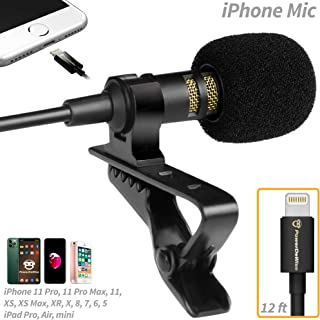 PowerDeWise Lavalier Microphone Compatible with iPhone 7, 7 Plus, 8, 8 Plus, X, XR, XS, XS Max, 11, 11 Pro, 11 Pro Max