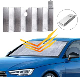 Car Windshield Sunshade, Auto Front Window Protector Sun Shade Visor Heat Shield Cover Foldable UV Ray Reflector for Car, Keeps Vehicle Cool/Easy to Use/Fits Windshields of Various Sizes (59