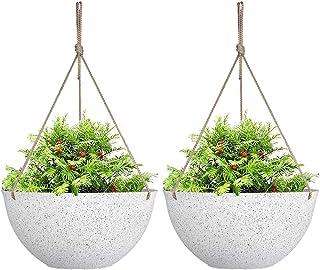 "Large Hanging Planters for Indoor Plants,Speckled White Hanging Flower Pots(13.2"",Set of 2)"