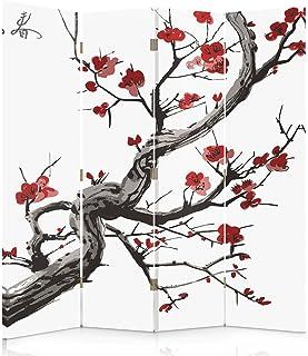 Feeby Frames Biombo Impreso sobre Lona, tabique Decorativo para Habitaciones, a una Cara, de 4 Piezas (145x150 cm), Cerezo JAPONÉS, Blanco, Rojo, Negro