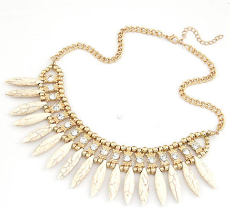 ABS Bib Choker Crystal Chunky Statement Chain Pendant Necklace