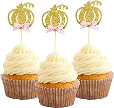 Pumpkin Cupcake Topper Fall Theme Cake Decoration for Pumpkin Themed Baby Shower Party Supplies, Pumpkin Food Pick - Set of 24