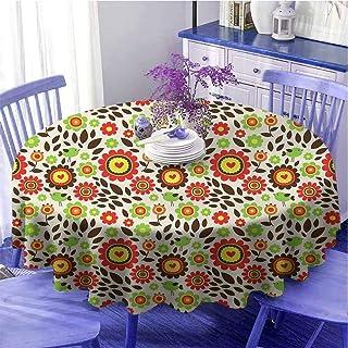 Linge de table ronde pour chambre d'enfant Motif jardin d'été avec fleurs colorées Motif oiseaux tombés feuilles à séchage...