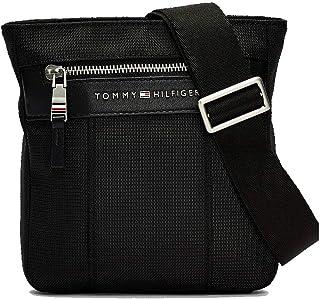 حقيبة صغيرة طويلة بتصميم كروس اوفر مرموقة من النايلون للرجال من تومي هيلفجر، اسود - AM0AM05811