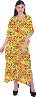 RADANYA Women's Cotton Swimsuit Cover up Beach Kaftan for Bathing Suit with Floral Print