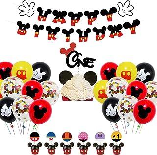 Decoraciones de cumpleaños de Mickey Mouse - WENTS 48PCS Artículos de Fiesta de Mickey y Minnie Banner de Feliz cumpleaños Globos de Lunares para Decoraciones de Fiesta temáticas de Minnie