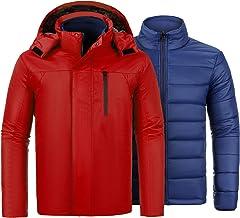 VICALLED Men's 3-in-1 Ski Jacket Winter Snow Waterproof Hooded Coat with Inner Warm Down Jacket