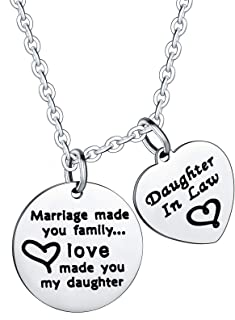 Nimteve Daughter Gifts from Mom Marriage Made You Family Love Made You My Daughter Girls Jewelry for Daughter in Law