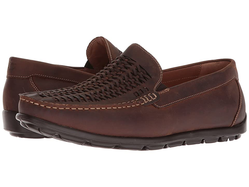 Florsheim Draft Moc Toe Woven Vamp Driver (Brown Crazy Horse) Men