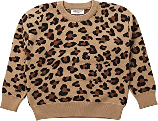 Infant Baby Girl Boy Knit Sweater Long Sleeve Leopard Round Neck Pullover Top Shirt Blouse Fall Winter Clothes
