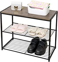 LEEDA 3-Tier Metal Storage Shoe Bench, 2 Shelves Rack Organizer, Entryway Furniture with Seat, for Living Room, Hallway, B...