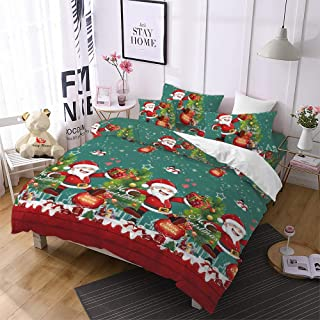 Christmas Bedding 3D Duvet Cover Twin Size,Cartoon Santa Claus Home/Bedroom Gifts Decor for Kids,Green