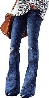 Women's Ripped Flare Bell Bottom Jeans Pants Retro Wide Leg Denim Pants