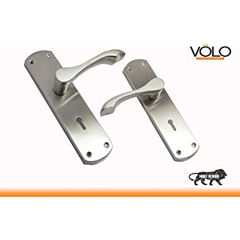 "Volo Security Mortise Lock Handle Set, Door Lock, Complete with Lock,8""/200mm, Silver Satin Finish, for Door Hardware"
