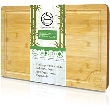 """Extra Large Organic Bamboo Cutting Board with Juice Groove – Value for Kitchen Chopping Board Meat, Bread, Cheese, Fruits & Vegetables (XL 18 x 12"""")"""