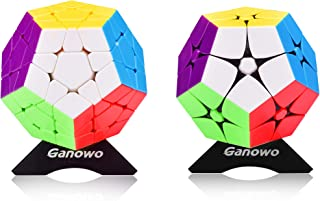 Ganowo Megaminx Cube 3x3 2x2 Pentagonal Dodecahedron Speed Cube Puzzle Toy Magic Puzzle for Kids Stickerless Pink 2 Packs