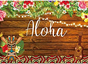 Allenjoy 7x5ft Summer Aloha Luau Party Backdrop Tropical Hawaiian Flowers Wooden Sculpture Photography Background Sea Palm Birthday Musical Party Banner Decoration Cake Table Photo Studio Booth Props
