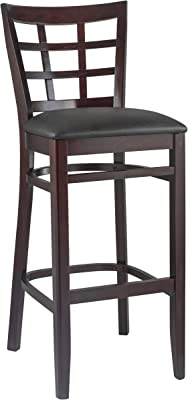 Beechwood Mountain BSD-17B-DM Solid Beech Wood Bar Stool in Dark Magany for Kitchen and dining