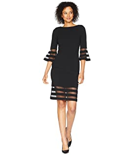 Bell Sleeve Dress with Illusion CD8C19MQ