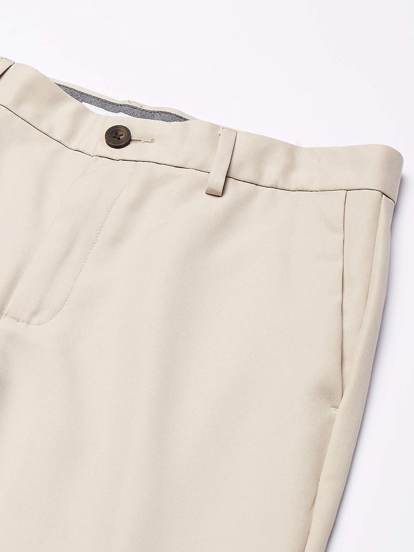 Essentials Mens Expandable Waist Classic-fit Flat-front Dress Pants Dress Pants