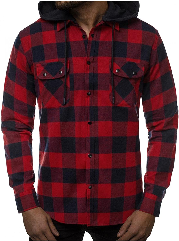 Burband 2021 Mens Casual Flannel Shirts Long Sleeve Button Down Sweatshirts Drawstring Plaid Hoodie Jackets with Pockets