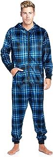 Men's Mink Fleece Hooded One-Piece Union Suit Pajamas