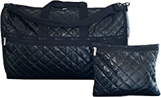 LeSportsac Black Crinkle Quilted Patent Extra Large Weekender Crossbody Bag + Cosmetic Bag, Style 7286/Color H026