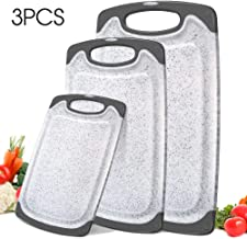 Mastertop 3Pcs Marble Pattern Premium Plastic White Kitchen Cutting Board Set BPA-Free with Juice Grooves Multiple Sizes Chopping Board