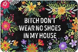 Entrance Door Mat,Bitch Don't Wear,No Shoes in My House Doormat,Funny Welcome Mats Front Door Mat,Indoor Outdoor Rug with ...