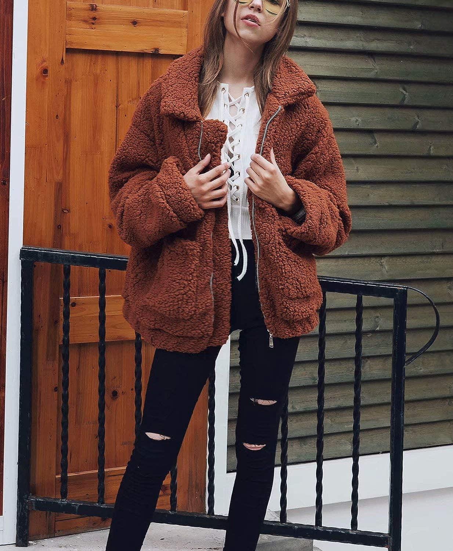 Women Fluffy Coat Faux Shearling Jacket Open Front Fleece Cardigan with Pockets