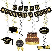 We Are So Proud of You Banner Decoration Set - Assembled, Black and Gold | Graduation Hanging Decorations | Graduations Party Supplies 2019 | Graduation Decorations for High School College Grad Party Decor, Large