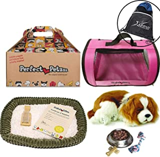 Perfect Petzzz Breathing Cavalier King Charles Plush Puppy Set, with Pink Tote, Dog Food, Treats, Chew Toy, and Drawstring Bag