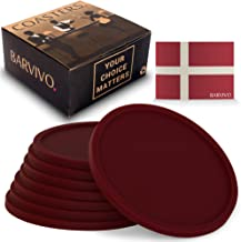 Barvivo Drink Coasters Set of 8 - Tabletop Protection for Any Table Type, Wood, Granite, Glass, Soapstone, Marble, Stone Tables - Perfect Red Soft Coaster Fits Any Size of Drinking Glasses.