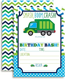 Garbage Truck Birthday Party Invitations for Boys, 20 5